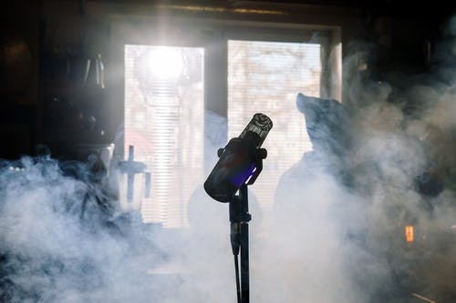 microphone in smoky room